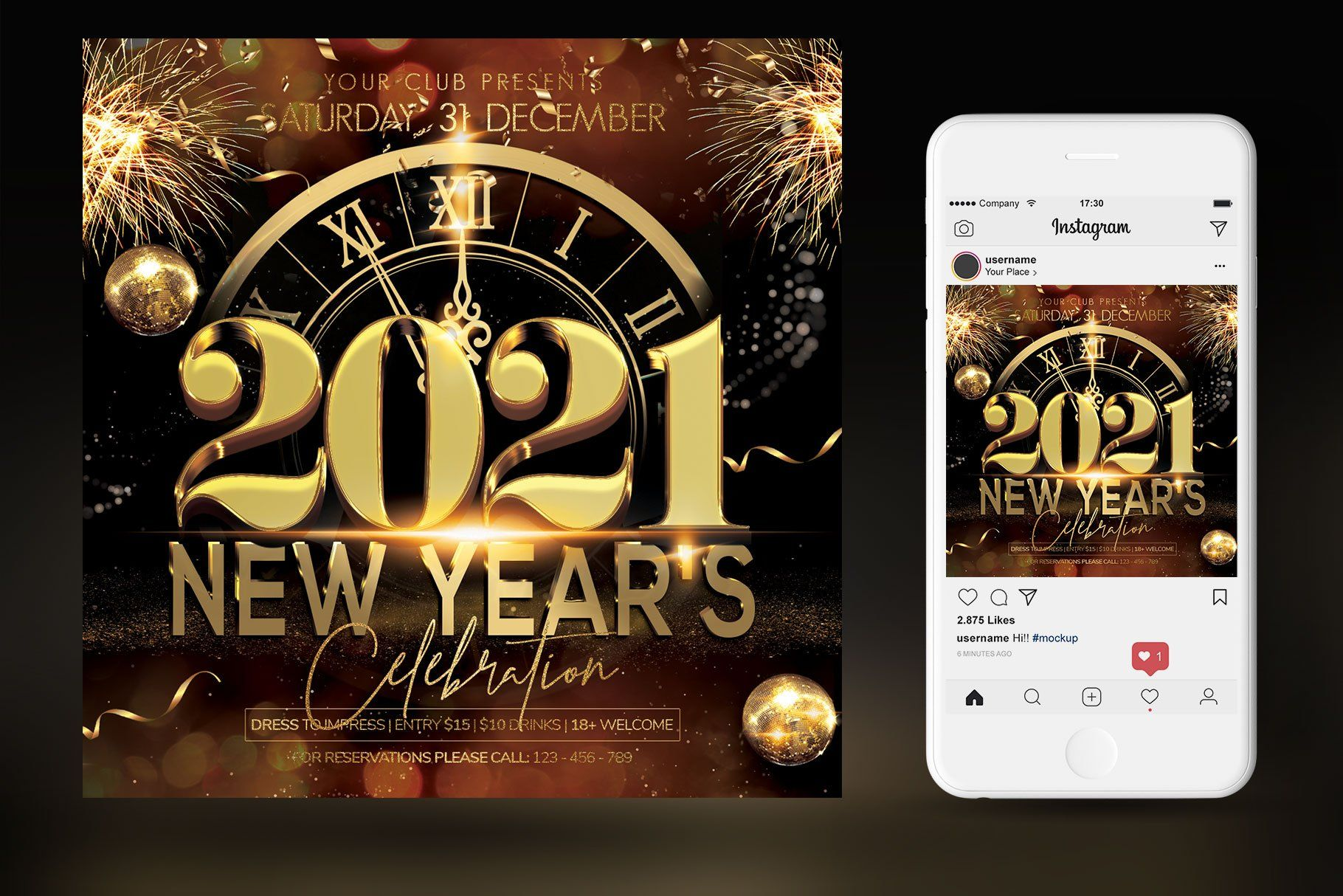 2021 New Year by Artolus on creativemarket в 2020 г