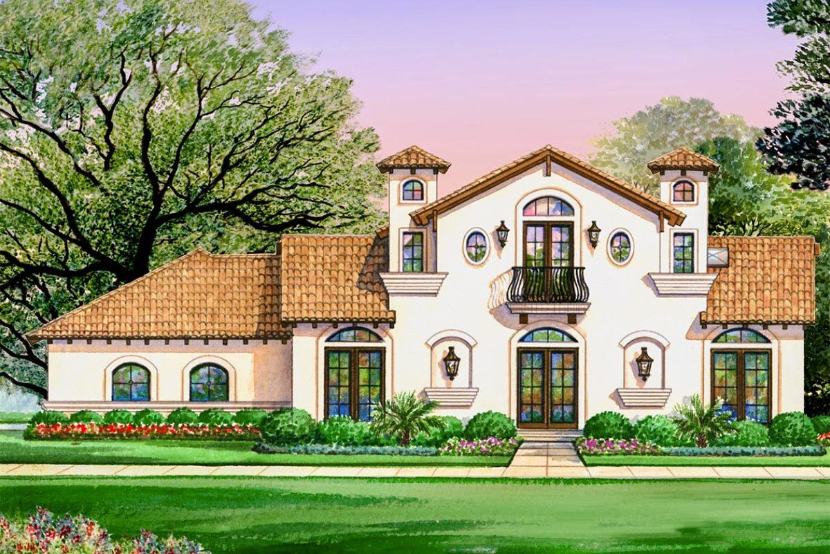 Plan 36429tx Luxury Spanish Villa With 4 Bedrooms Spanish Style Homes Mediterranean House Plans Spanish House