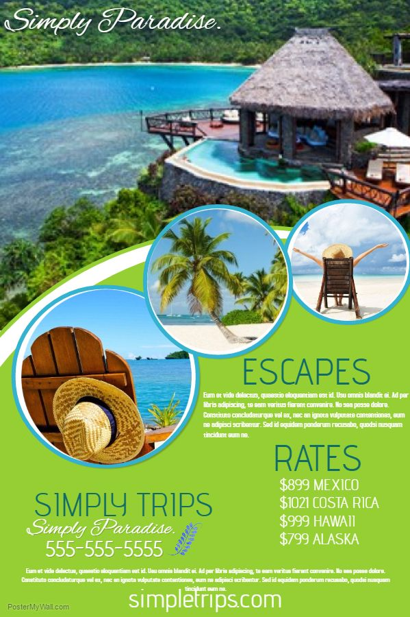 Travel Agency Flyer Click the image to customize on PosterMyWall - vacation brochure template