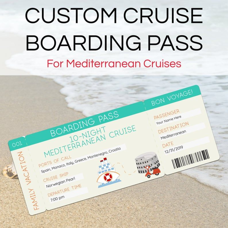 Mediterranean Custom Cruise Boarding Pass Ticket Printable Cruise Eastern Caribbean Cruises Disney Cruise Line