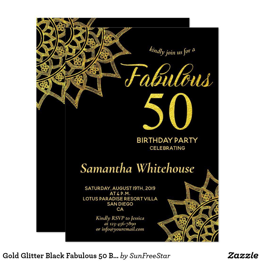 Gold Glitter Black Fabulous 50 Birthday Invitation