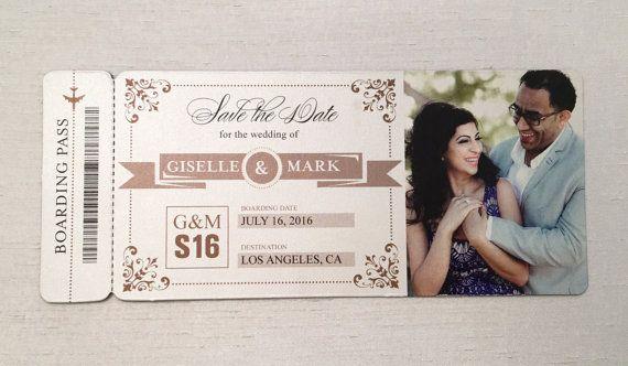 destination wedding; SAMPLE ONLY Beach wedding plane ticket save the date