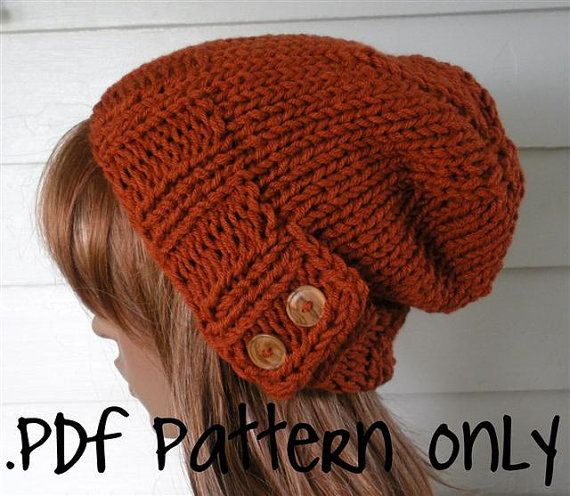 Knitting Pattern Knit Hat Pattern Easy Slouchy Beanie Beret