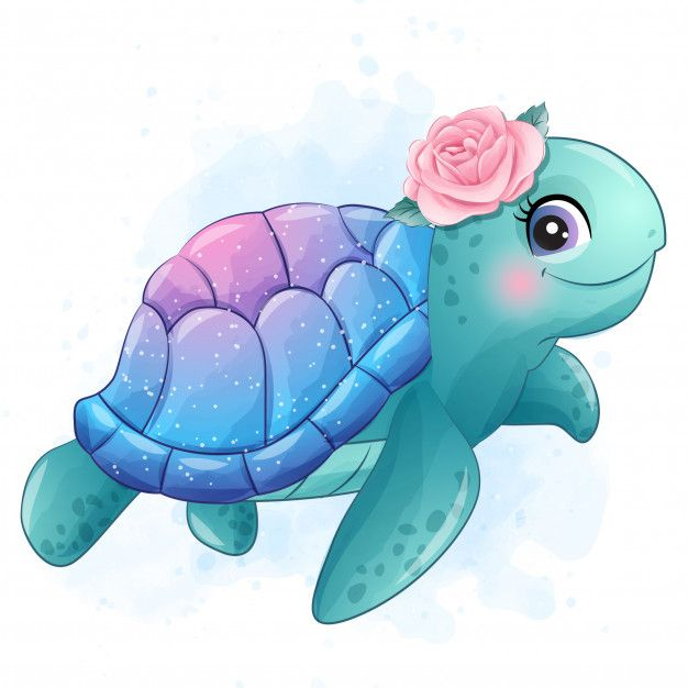 Cute Little Sea Turtle With Watercolor Illustration Baby Animal Drawings Cute Drawings Turtle Drawing