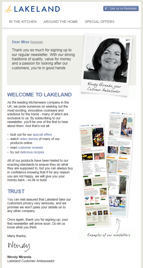 Really Great Welcome Email From Lakeland Includes Examples Of