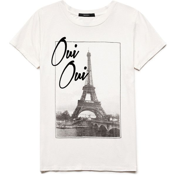Forever 21 Oui Oui Knit Tee ($5.99) ❤ liked on Polyvore featuring tops, t-shirts, graphic design t shirts, short sleeve tees, forever 21 tops, short sleeve tops and forever 21