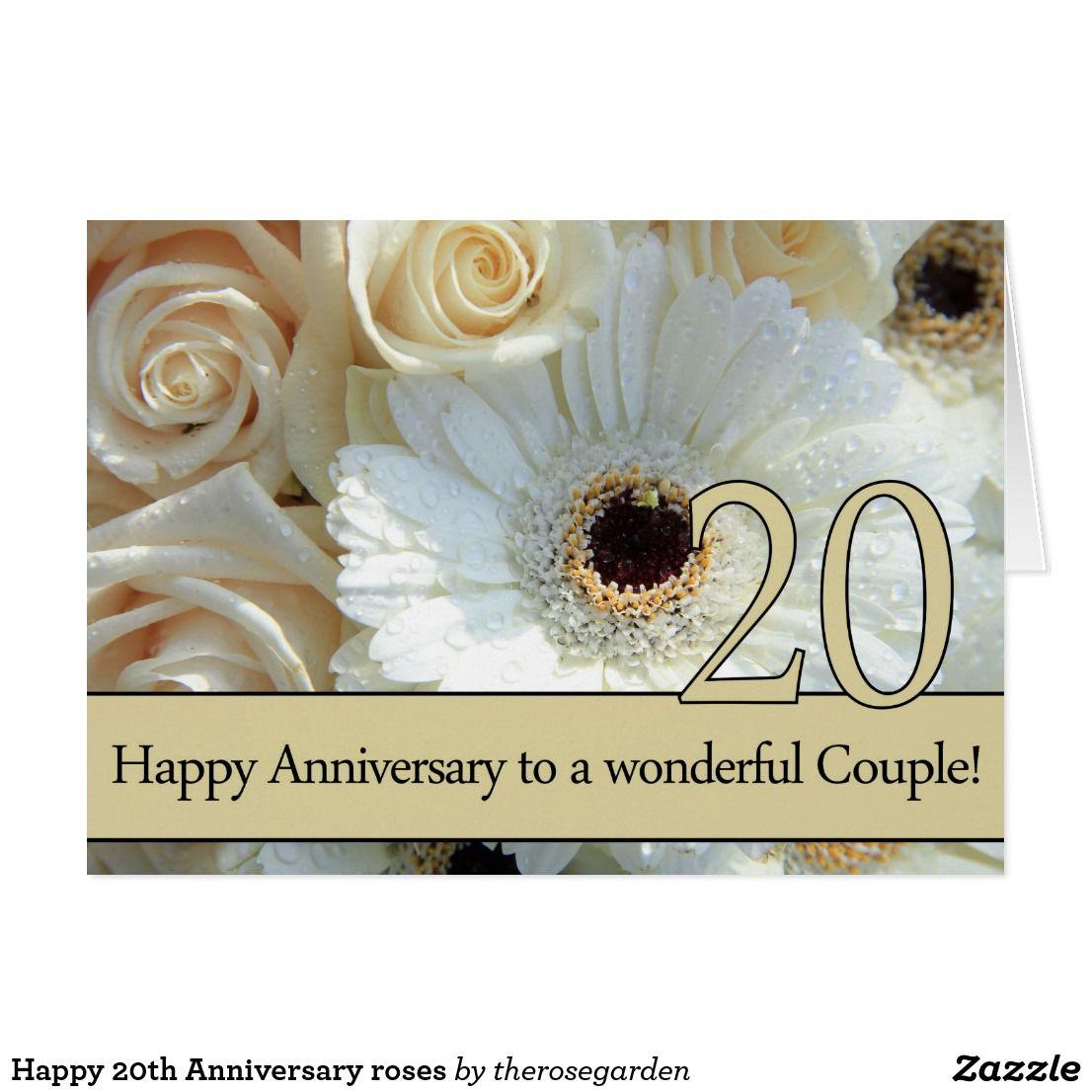 Happy 20th Anniversary roses Card Zazzle.co.uk Happy