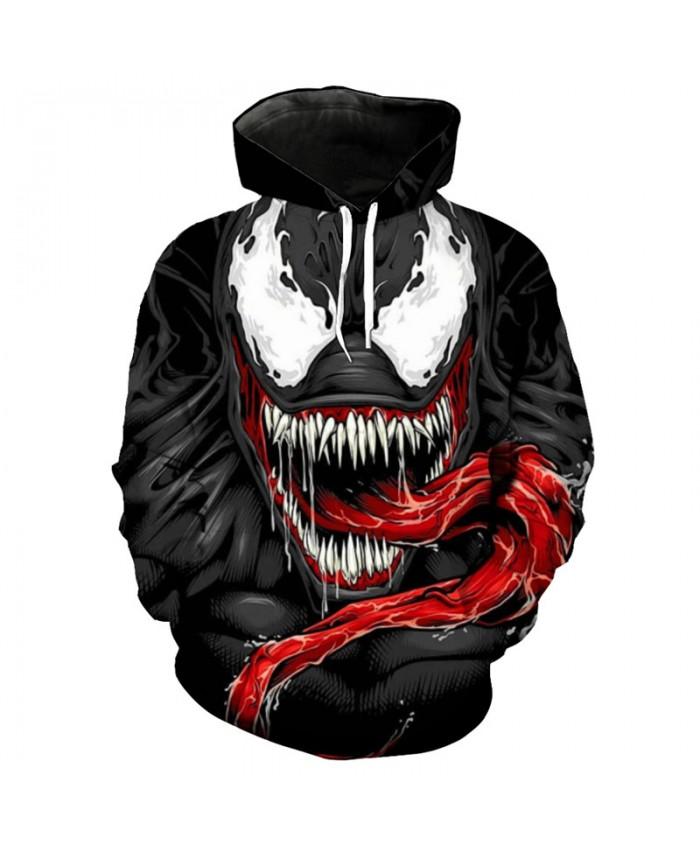 Cool 3D Hoodie Anime Super Hero Venom Print Fun Pullover