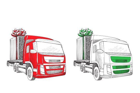 Truck with christmas gift graphics delivery service van new year truck with christmas gift graphics delivery service van new year greeting card christmas gift m4hsunfo Gallery