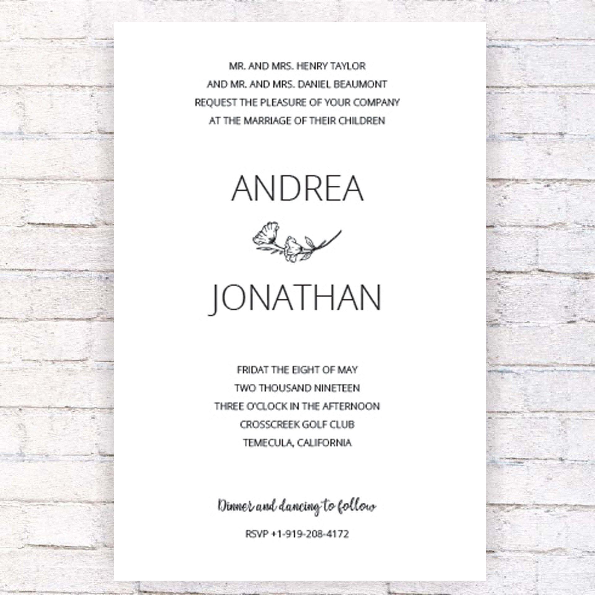 Jewish Wedding Invitation Template Hand Made Designed  Etsy