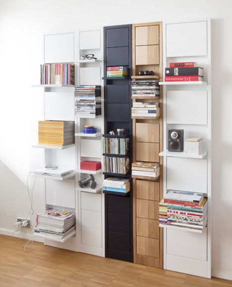Empty shelves can look strange or sad, leading us to try and fill them up … sometimes too fast. The solution? Modular fold-down wall shelves.