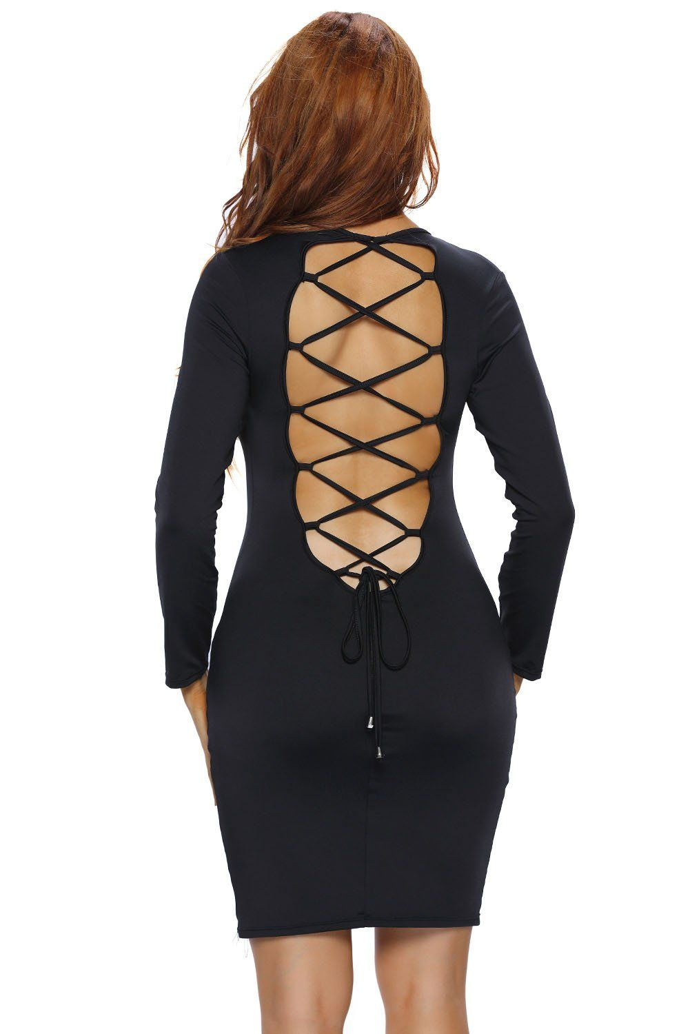 Mrs spicy colors lace up back long sleeve bodycon mini dress black