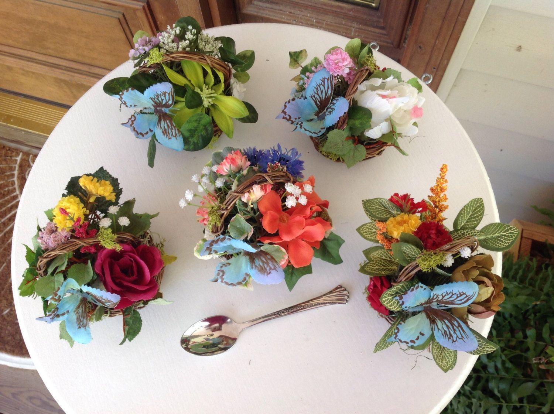 Silk Flower Centerpiece Miniature Floral Arrangements Butterfly