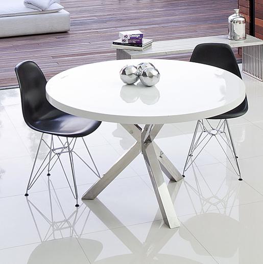 Round Dining Table White Sangea Collin Modern White Round Dining