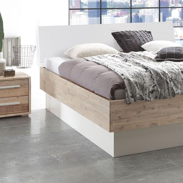 Bettkasten bett rusko aus akazie mit wei em kopfteil for Bett scandinavian design