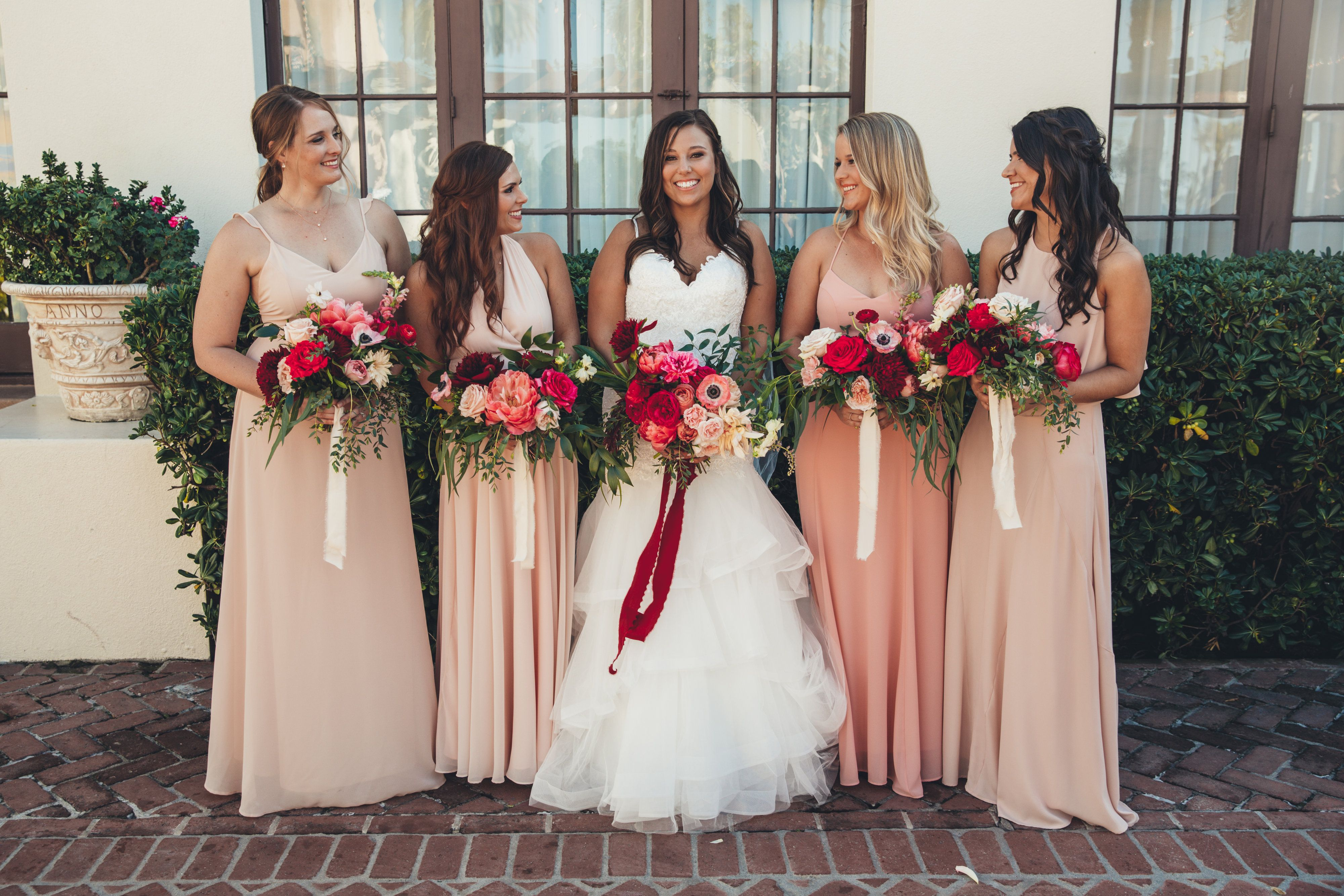 Bright Pink Hot Pink Bouquets Blush Bridesmaid Dresses For La