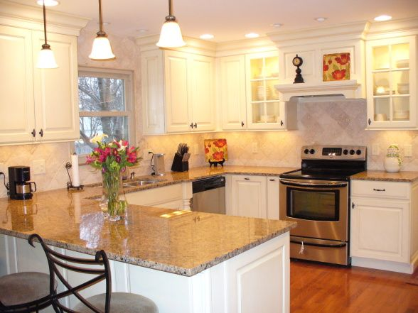 Painted White Kitchen Cabinets Breakfast Bar Cabinets