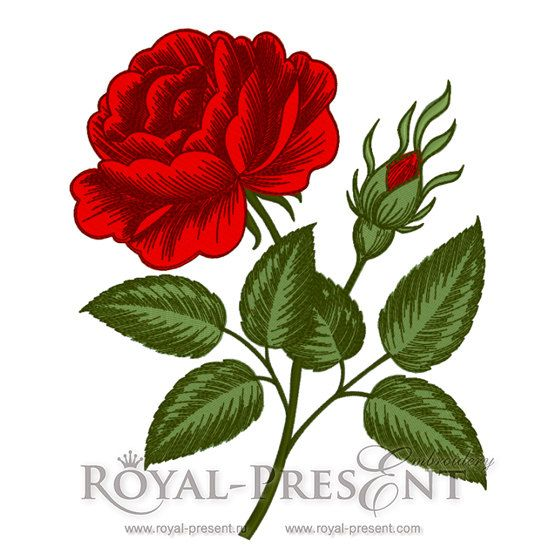 Machine embroidery designs vintage rose flower engraving