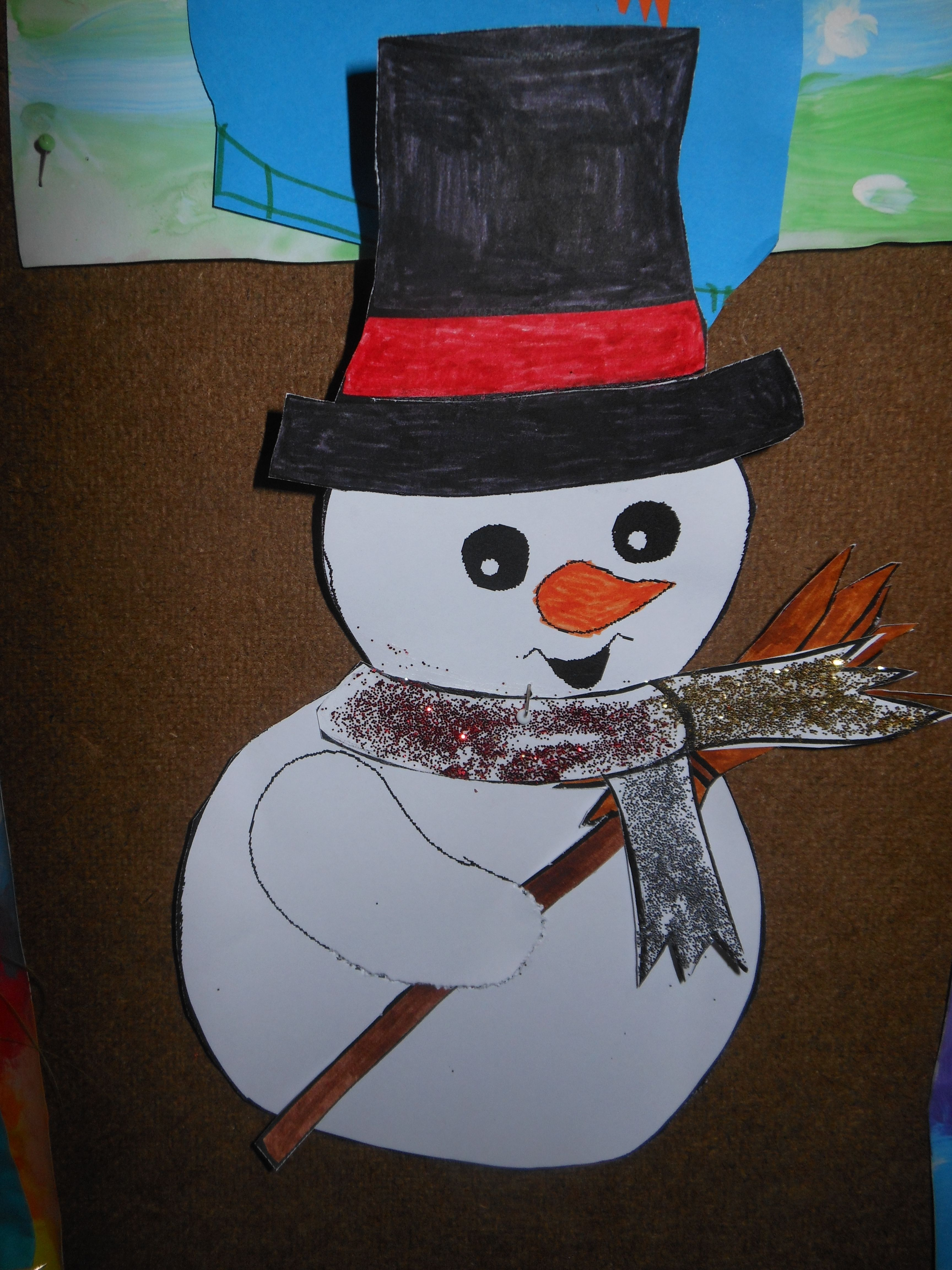 sneeuwman met glittersjaal