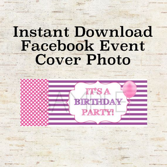 Instant download facebook event cover photo for a birthday party instant download facebook event cover photo for a birthday party invitation evite with purple stripes stopboris Image collections