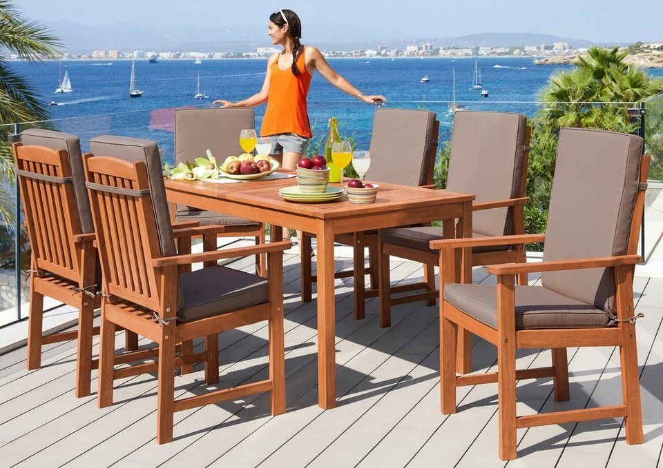 Merxx Gartenmobelset Montana 13 Tlg 6 Sessel Tisch 150x80 Cm