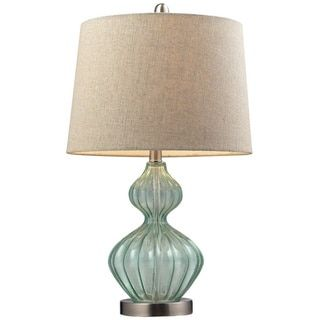 Smoked Glass 1-light Pale Green Table Lamp - 15785183 - Overstock.com Shopping - Great Deals on Dimond Lighting Table Lamps