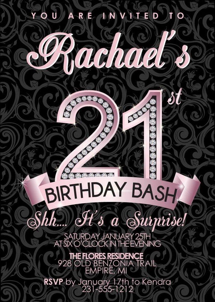 21st Birthday Invitation - Adult Birthday Party Invitation ...
