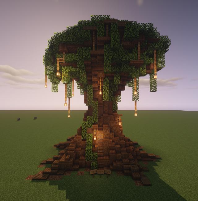 I Present To You My Grand Oak Tree Minecraft Minecraft Farm Minecraft Designs Minecraft Decorations