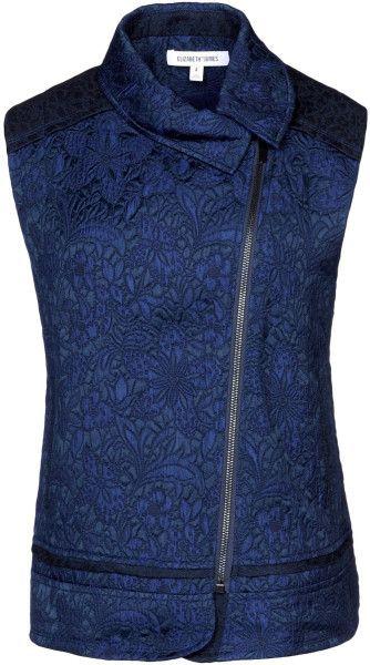 Floral jacquard sleeveless Jacket by Elisabeth and James - Lyst.   Contrasting yoke and trim above hem, vertical double welt pockets.
