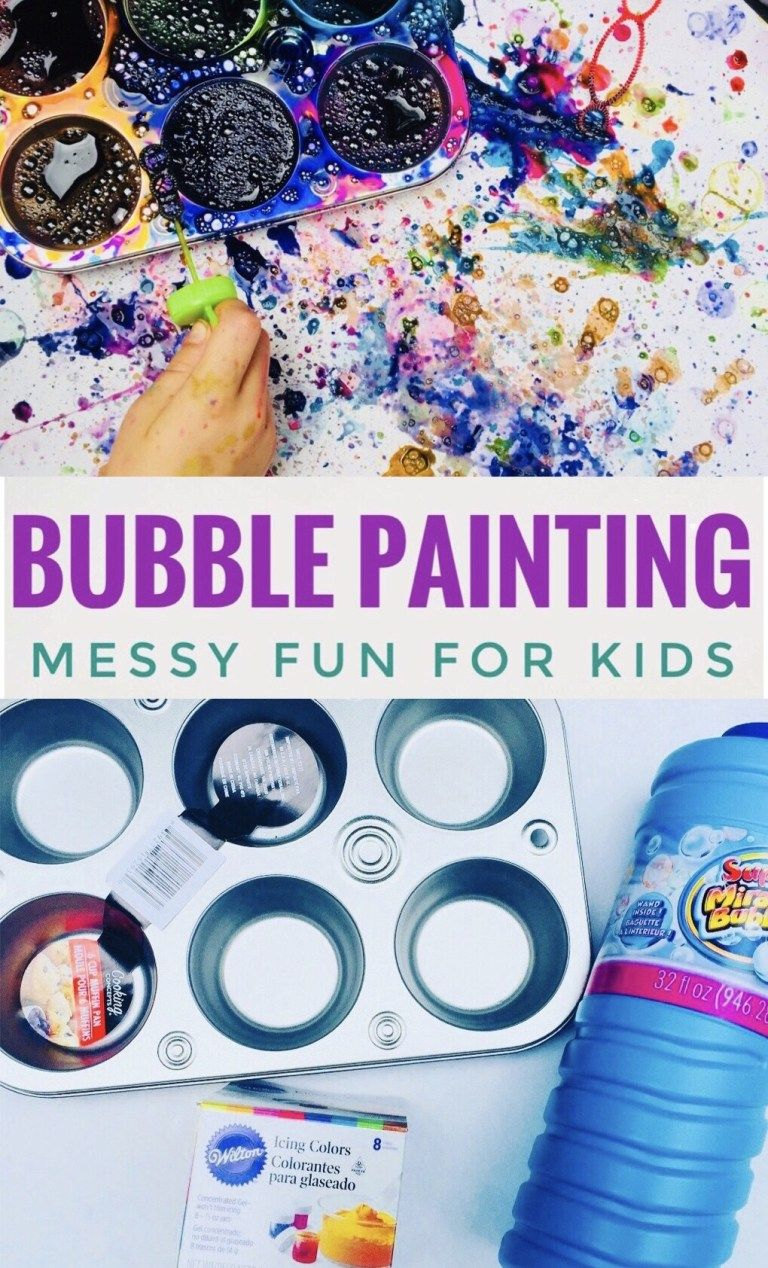 Bubble Painting Fun Summer Activity Eced Class Outside