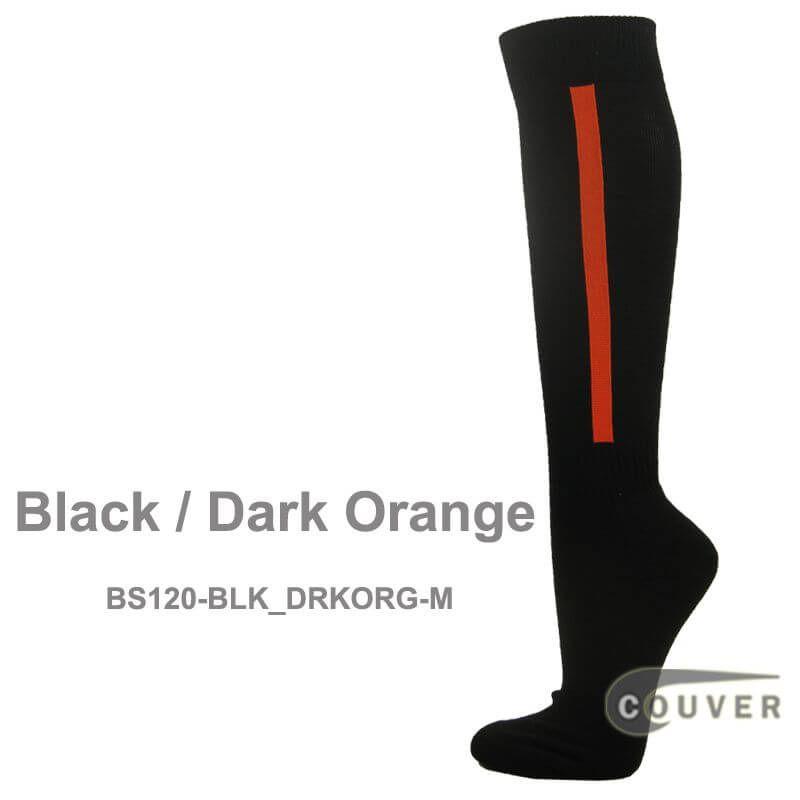 525b183be Black   Dark Orange Couver Premium Quality Baseball Black Knee High Socks  w  Vertical Stripe