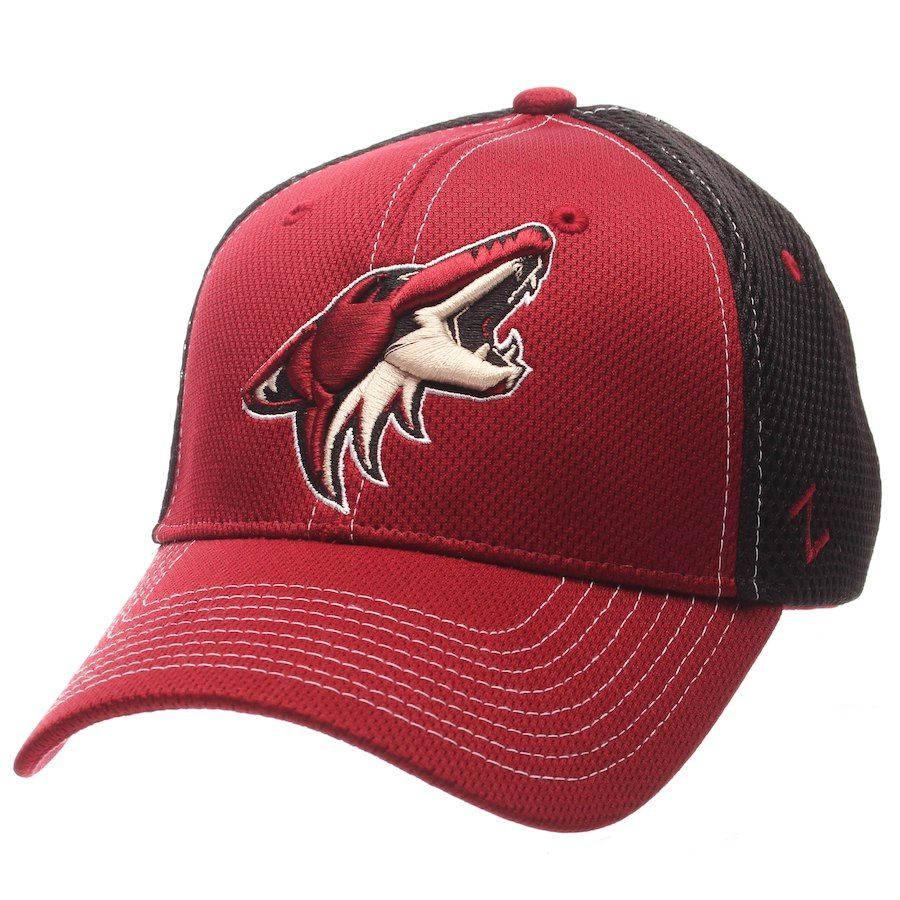 Men s Arizona Coyotes Zephyr Garnet Black Rally Spacer Mesh Flex Hat ... d9ca4c4a5