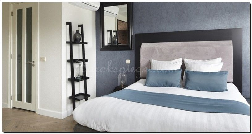 moderne zwarte spiegel in slaapkamer