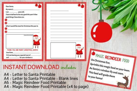 Magic Reindeer Food & Letter to Santa Printable - Christmas Printable  - Holiday Printables - Kids D #reindeerfoodrecipe