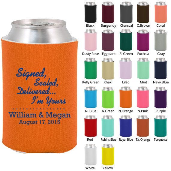 Custom Koozies (Clipart 1233) It's Official - Personalized Koozies - Wedding Koozies - Wedding Favor Koozie - Beer Coozies