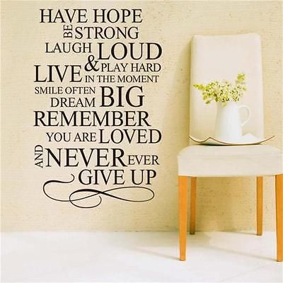 Removable decal Have Hope Never Give Up wall sticker Bedroom art ...