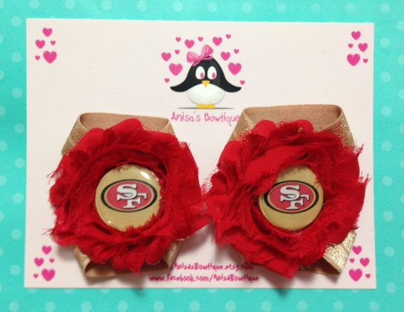 San Francisco 49ers barefoot sandals newborn by AnisasBowtique, $8.00