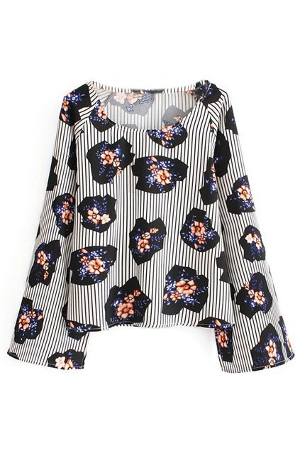 ROMWE Floral Print Striped Long Sleeves Blouse