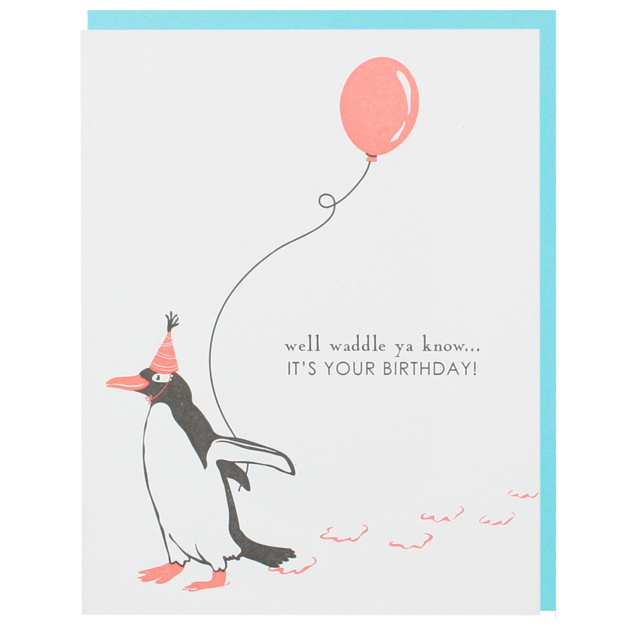 Penguin With Balloon Birthday Card Birthday Cards Happy Birthday Cards Cards