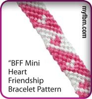 Friendship Bracelet Pattern Mini Heart Design - this website has a lot of great patterns