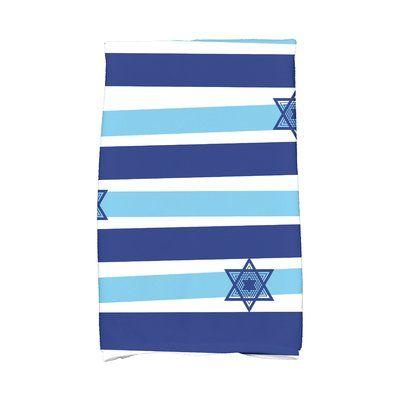 The Holiday Aisle Hanukkah Star Stripes Hand Towel