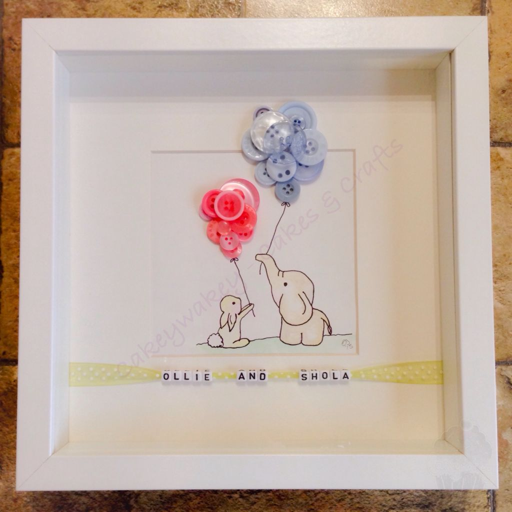 watercolour bunny elephant button frame with personalised letter beads x - Elephant Picture Frame