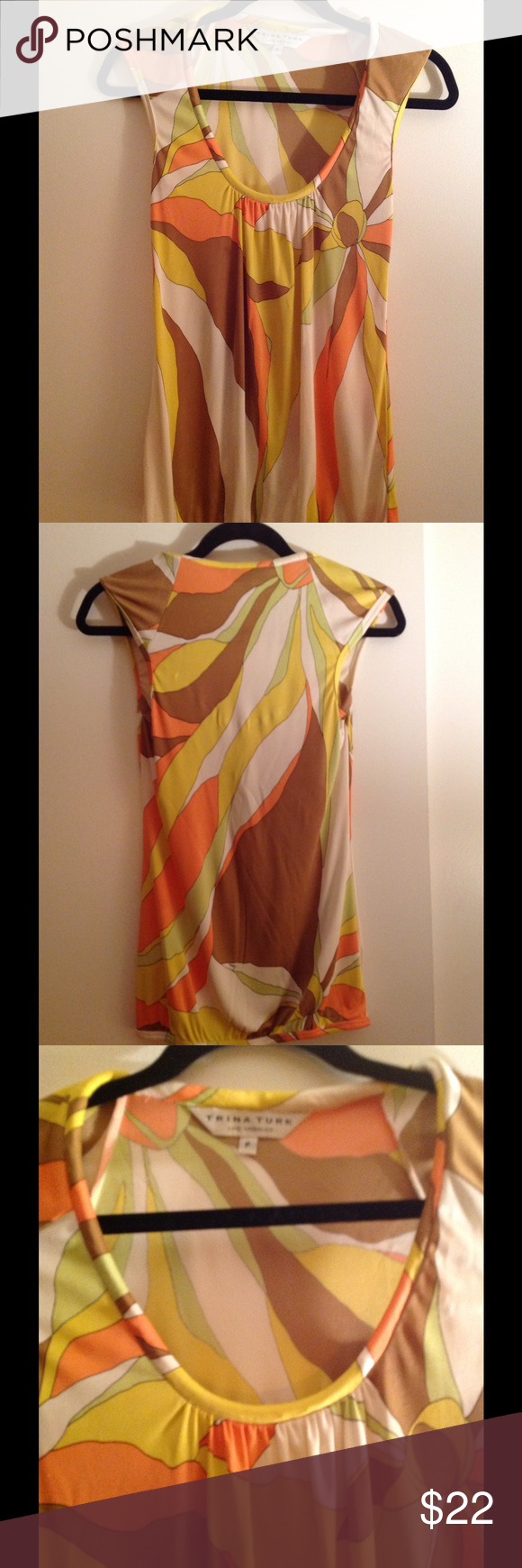Trina Turk sleeveless blouse Gorgeous soft jersey fabric no snags pulls or tears pretty Pucci print trina turk Tops Blouses
