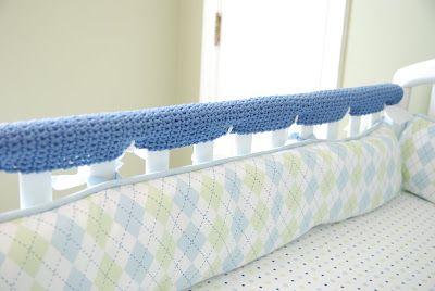 Crochet Crib Rail Guards Free Pattern Def Easier Than Repainting The Whole Shebang Crochet Crib Crib Rail Guard Crib Rail