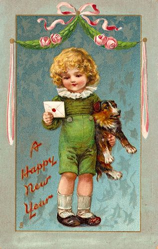 new years greetings child with dog vintage postcard greeting