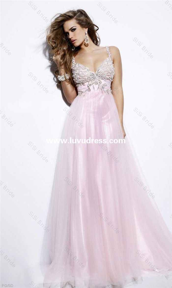 New Arrival A-line Sweetheart Spaghetti Strap Beaded Backless Tulle Long Prom Dress Sexy 2014 Party Dress