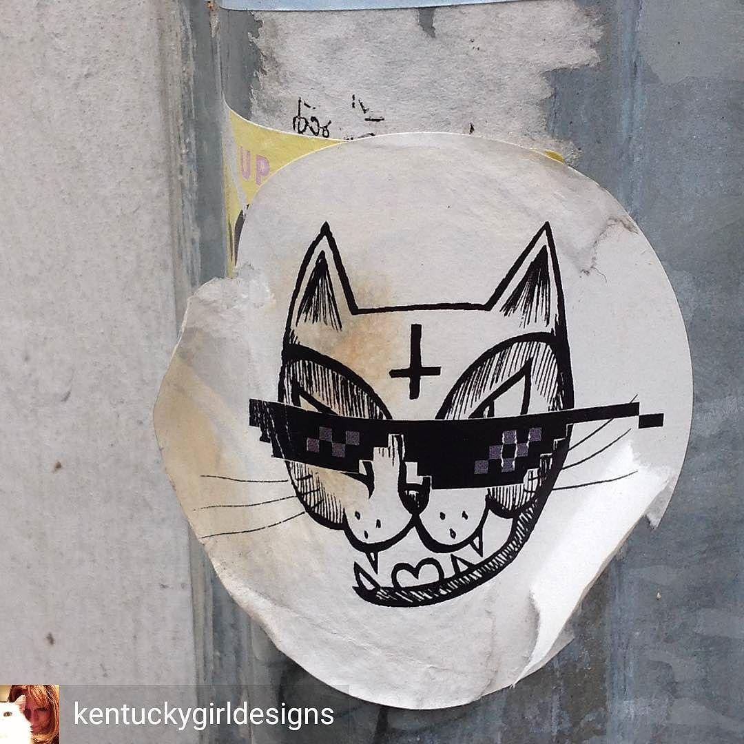 Cool kitties never die - still going on Brick Lane  @Regrann from @kentuckygirldesigns -  Cool cat sticker (@hellothemushroom) on a conduit pipe...Wandering down Brick Lane - #london2017 #sticker #streetartlondon #streetart #streetartistry #unknownartist #london #bricklane #eastend #coolcat #hellothemushroom