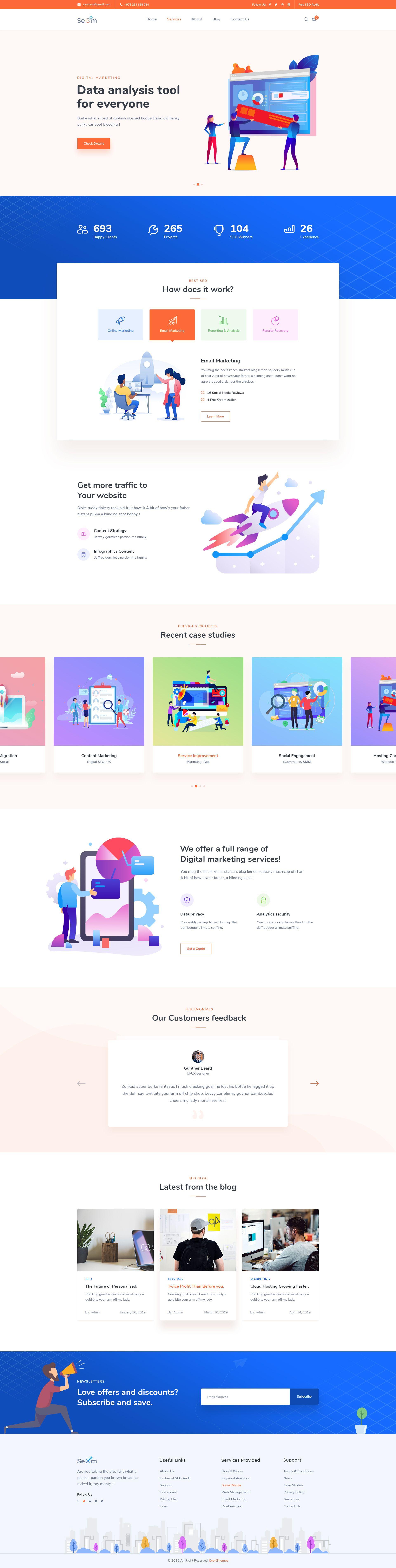 Seom Digital Marketing Seo Wordpress Theme Home Best Landing Page Design Web Design Web Design Services