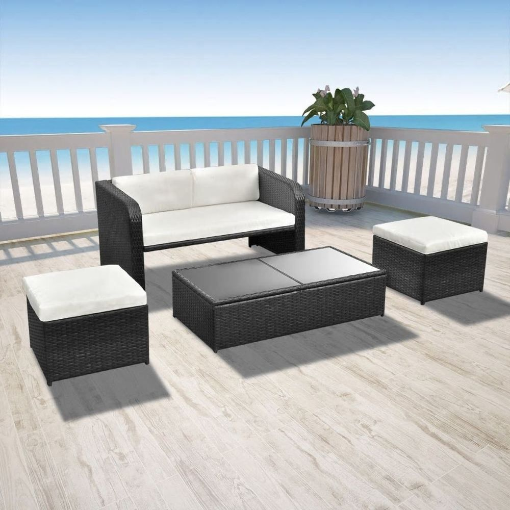 Patio Rattan Garden Furniture Sofa Table Stools Set Outdoor Wicker Black Garden Sofa Set Rattan Patio Furniture Rattan Garden Furniture