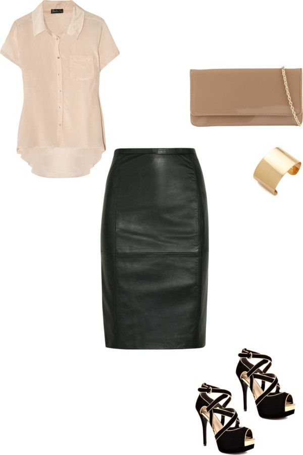 black leather skirt ensemble - I have a gorgeous DKNY black leather skirt and I never know how to wear it because I am afraid it will look trashy. Love this!